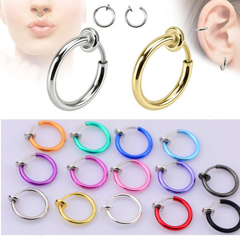 2pcs 10x13mm Colorful Fake Nose Ring Goth Punk Lip Ear Nose Clip On Fake Piercing Nose Lip Hoop Rings Earrings - On Trends Avenue