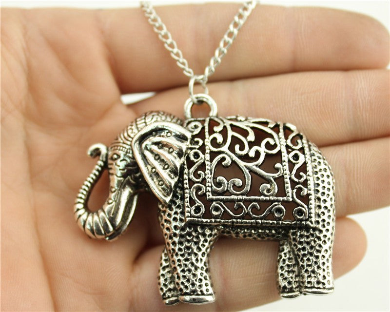 WYSIWYG fashion antique silver tone 59*47mm elephant pendant necklace, 70cm chain long necklace - On Trends Avenue