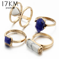17KM Vintage 4 PCS Ring Set Punk Silver Color Stone Rings For Women/Men Bead Finger Gold Color Ring Bohemian Midi Ring Set - On Trends Avenue