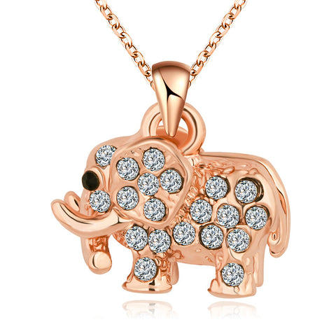 New Brand Women Charms Collar 18k Gold Chain Necklace Crystal Cubic Zircon Diamond Elephant Pendants Necklace Fine Jewelry P001 - On Trends Avenue