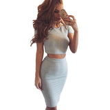 Tonval Summer Womens Club Dress Two Piece Outfits Bodycon Midi Dress Sexy Party Dresses Bodycon Vestidos Night Club - On Trends Avenue