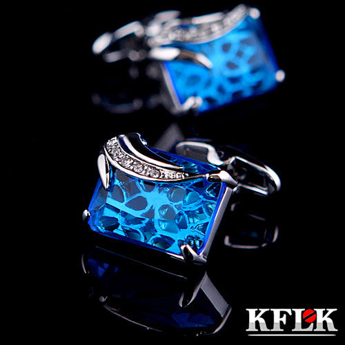 KFLK Jewelry shirt cufflinks for mens Gift Fashion Luxury Wedding Brand Blue Cuff link Novelty Button High Quality - On Trends Avenue