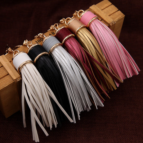 Classic PU Leather Tassel Key Chain Metal Keyring Women Handbag Accessory Car Fashion Jewelry Gift - On Trends Avenue