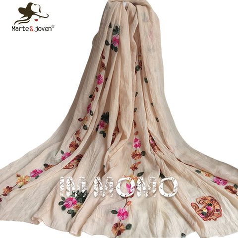 Pure Color Floral Embroidered Scarf and Wrap for Women Ethnic Style Flower Scarves and Shawls for Girls Oblong Flower Scarf - On Trends Avenue