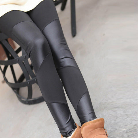 Faux leather stitching leather leggings nine points - On Trends Avenue