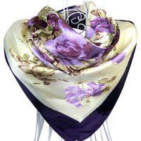 90cm*90cm Purple Flower Print oil painting square silk scarf women royal rose shawls - On Trends Avenue