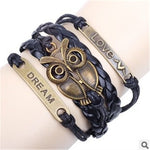 New Vintage Braided Owl Punk Bracelet Fashion Charms Hand Woven Leather Bracelet Women Fine Jewelry D139 - On Trends Avenue