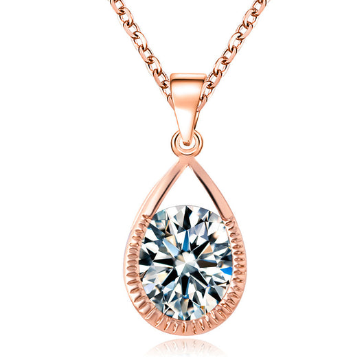 New Women Necklace 18K Rose Gold Plated Necklace Crystal Cubic Zircon Diamond Water Drip Pendants Necklace Fine Jewelry P009 - On Trends Avenue