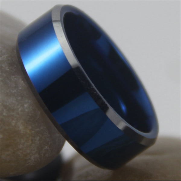 Hot Sales 8MM Width Blue Color With Shiny Bevel Custom Ring Blank Ring New Men's Fashion Tungsten Wedding Ring - On Trends Avenue