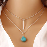 Fashion Bohemia Turquoise Double Chain Heart Pendant Necklace Punk Classic Body Chain Necklaces Jewelry Women - On Trends Avenue