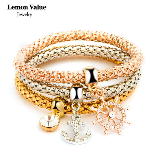 New Punk Gold Chain Multilayer Bangles Vintage Charms Elastic Force Crystal Anchor Pendant Bracelet Women Fine Jewelry Gift E008 - On Trends Avenue
