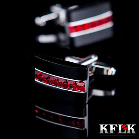 KFLK Jewelry HOT HOT shirt cufflink for mens gift Brand cuff button Red Crystal cuff link High Quality abotoaduras Free Shipping - On Trends Avenue
