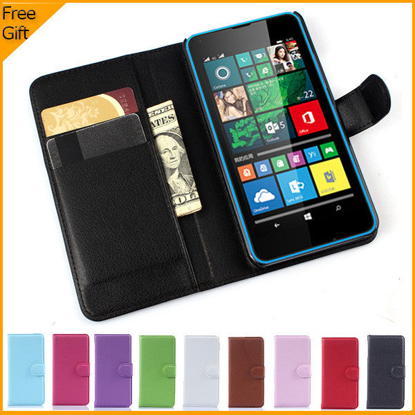 Luxury Wallet Leather Flip Case Cover For Microsoft Lumia 640 Lte Dual SIM Cell Phone Case Back Cover With Card Holder Stand - On Trends Avenue