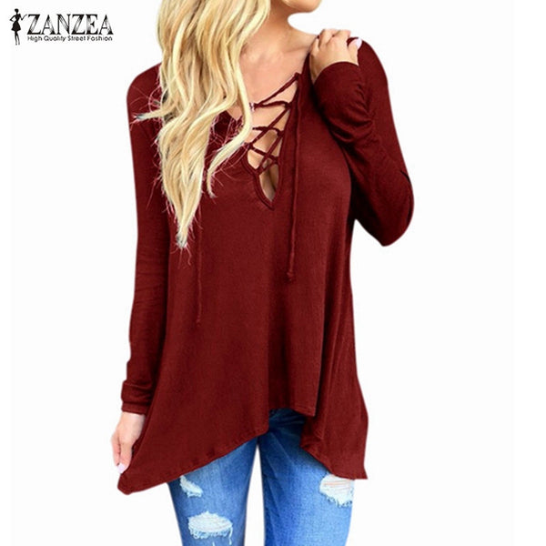 Fashion Blusas Women Sexy V Neck Irregular Blouses Shirts Ladies Casual Hooded Solid Long Sleeve Tops - On Trends Avenue