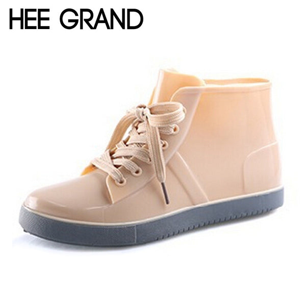 HEE GRAND Lace-Up Rain Boots Fashion Solid Flats Ankle Boots Casual Silver Women Boots Shoes Woman 4 Colors Size 35-40 XWX3072 - On Trends Avenue