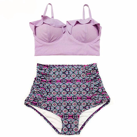TQSKK 2016 New Bikinis Women Swimsuit High Waist Bathing Suit Plus Size Swimwear Push Up Bikini Set Vintage Retro Beach Wear XXL - On Trends Avenue