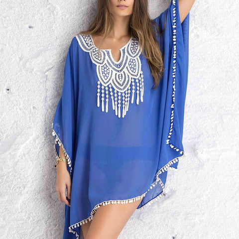 Women Kaftan Sarong Blouses Sexy Bathing Suit Cover ups Bikinis Swimwear Cover Up Beach Dress Lace Stitching Fusion Chiffon - On Trends Avenue