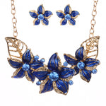 New Brand Statement Choker Vintage Charms Rhinestone Collar Fashion Crystal Flower Necklace Earrings Women Fine Jewelry Set G039 - On Trends Avenue