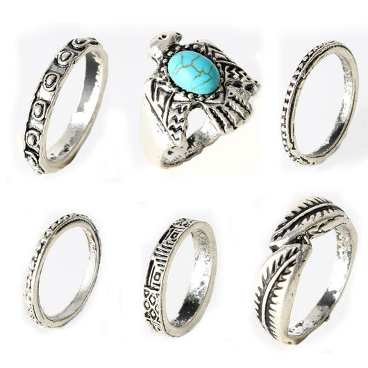 6pcs/Pck Vintage Anti Silver Color Rings Turquoise Bird Ring Set Knuckle Rings - On Trends Avenue