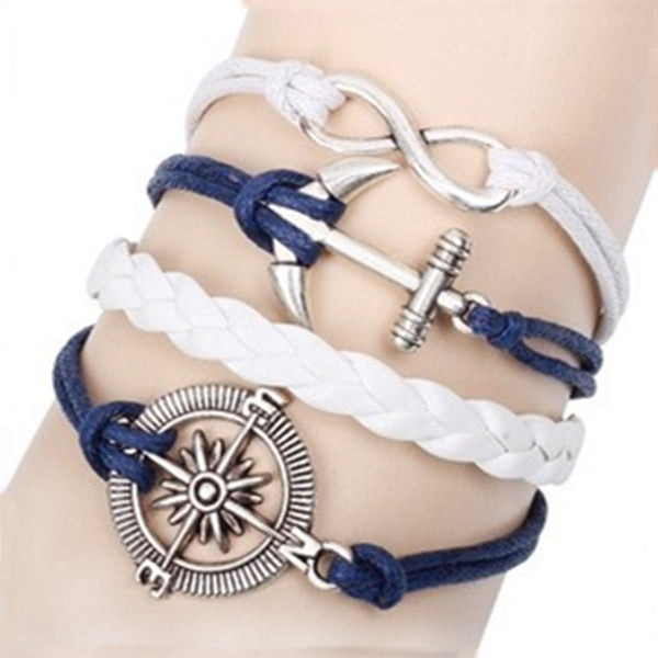 New Girl Jewelry Vintage Braided Fashion 8 Infinite Characte Anchor Compass Hand woven Leather Punk Charms Bracelet D135 - On Trends Avenue