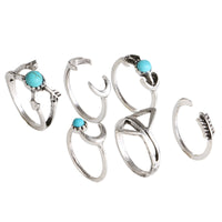 6pcs/Pck Vintage Anti Silver Color Rings Turquoise Triangle Ring Set Knuckle Rings - On Trends Avenue