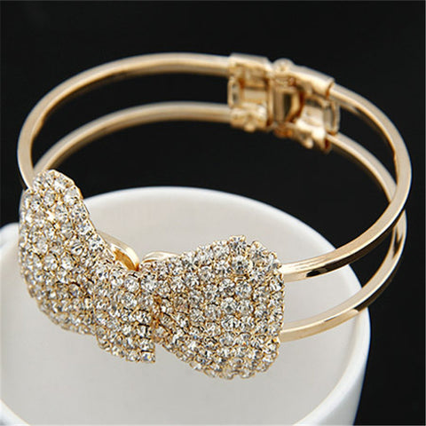 Fashion New Brand Design Luxurious 18K Gold Charm Crystal Cubic Zircon Diamond Beads Bowknot Bracelet For Women Jewelry  D019 - On Trends Avenue