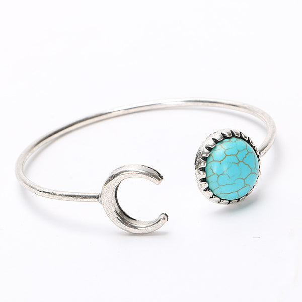 New Design Vintage Silver Turquoise Bead Bracelet Fashion Charms Cuff Punk Bangle Women Jewelry D068 - On Trends Avenue
