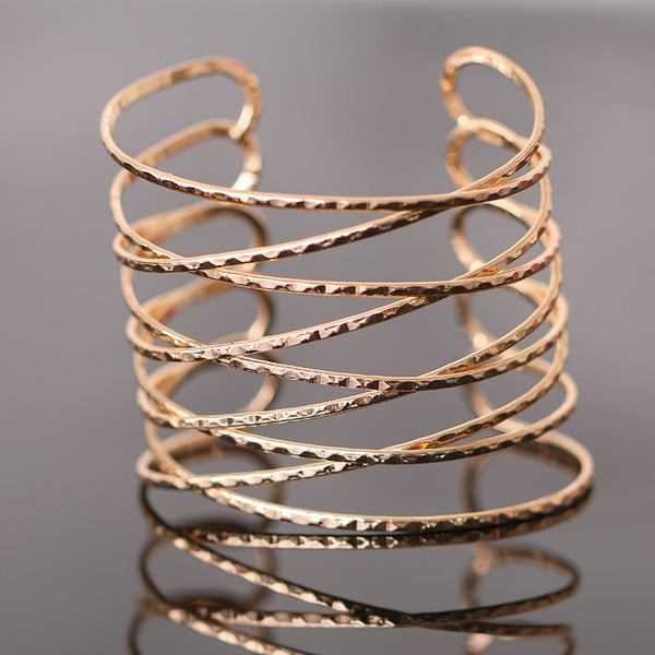 Fashion Punk Style Hollow Cuff Braid Bangles Vintage Charms Gold Plated Multilayer Wide Bracelet Women Jewelry Pulseras G009 - On Trends Avenue