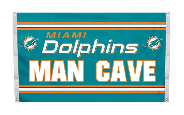 Miami Dolphins Man Cave Flag 3x5 FT Banner 100D Polyester NFL flag 136, - On Trends Avenue