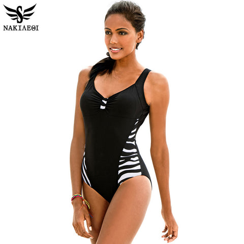 NAKIAEOI 2016 Newest One Piece Swimsuit Women Bathing Suits Vintage Summer Beach Wear Swim Suit Stripe Plus Size Swimwear 5XL - On Trends Avenue