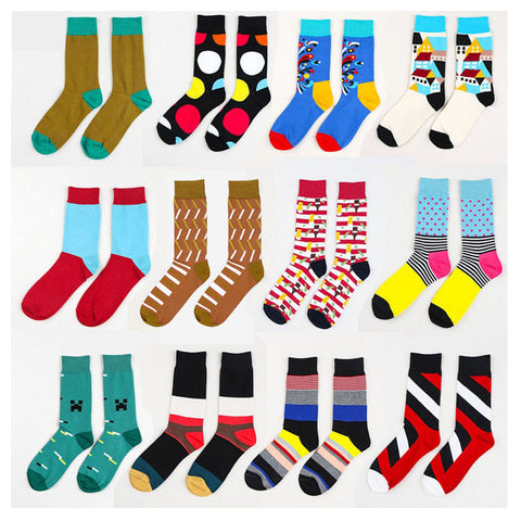 Summer Fashion Mens Cotton Socks Colorful Striped Jacquard Art Socks Hit Color Dot Long Happy Socks Men's Dress Sock - On Trends Avenue