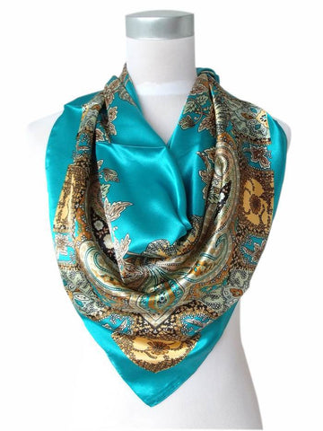 2014 Hot Sale Satin Square Silk Scarf Printed For Ladies,New Arrival Women Brand Polyester Scarves, Blue, Army Green,Yellow,Red - On Trends Avenue