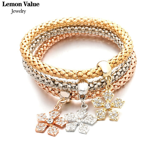 Lemon Value New Multilayer Snowflake Crystal Bangles Vintage Charms Elastic Force Punk Bracelet Women Jewelry Pulseira Gift A079 - On Trends Avenue