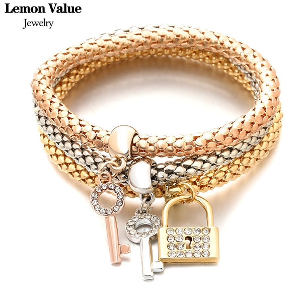 Lemon Value New Sale Gold Plated Crystal Key Bangles Vintage Charms Elastic Force Punk Lock Bracelet Women Jewelry Pulseira A128 - On Trends Avenue