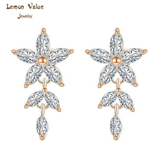 Lemon Value New Bijoux Fashion Crystal Snowflake Drop Earrings Luxury Zircon Charms Flower Earrings Women Jewelry Brincos P014 - On Trends Avenue
