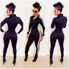 Fashion Sexy &Winter Rompers Women Jumpsuit Striped Tight Slim Zipper Long Sleeve Overalls SweatPants Tracksuit QL1870 - On Trends Avenue