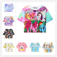 Harajuku kawaii t shirt Catoon style women crop top tie dye t shirt printed unicorn/my little pony/banana Croped tops wt-65 - On Trends Avenue