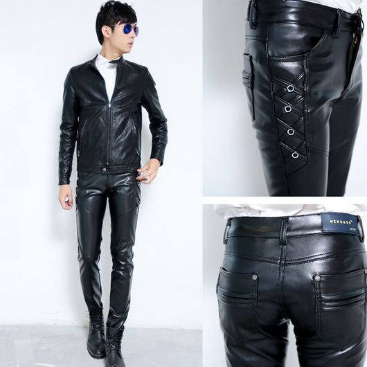 New Mens Elastic Faux Leather Pants PU Motorcycle Ridding Black Slim Fit Trousers For Male - On Trends Avenue