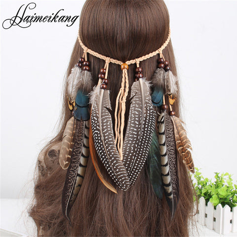 Feather Headband Women Festival Feather Headband Hippie Headdress Hair Accessories Boho Peacock Feather Headdress - On Trends Avenue