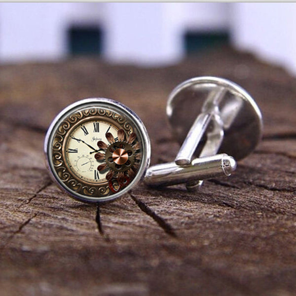 Fashion handmade Cufflink Beautiful flowers Steampunk Watch Glass Cabochon Art Picture High Quality Cufflink jewelry - On Trends Avenue