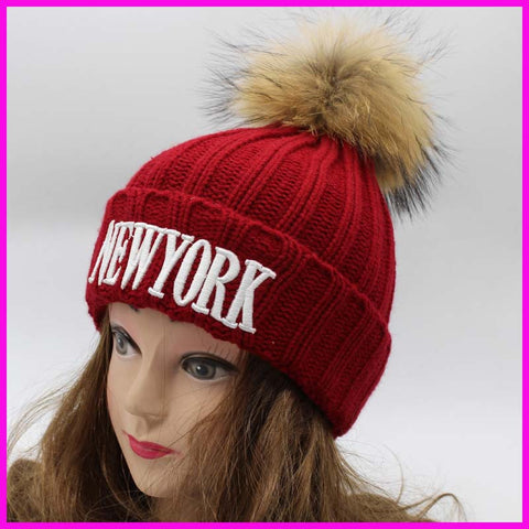 Cheap Fashion Womens Raccoon Fur Caps 100% Real 15cm Fur Pompom Beanie Hat Natural Fur Hats For Women - On Trends Avenue