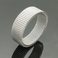 8mm Wide Stainless Steel Ring Titanium Couple Rings Deformable Mesh Ring O Men Jewelry Wedding Rings Punk - On Trends Avenue