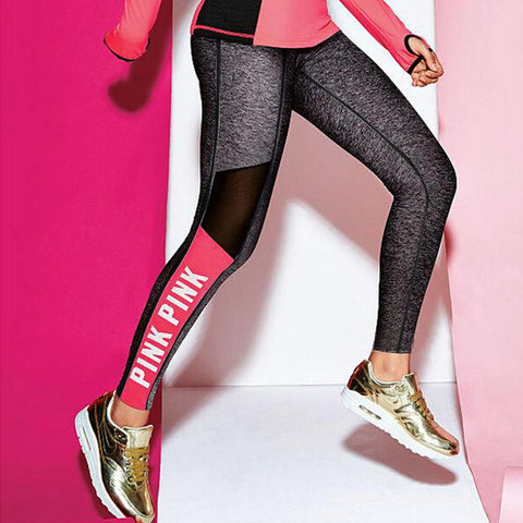 Mesh Splicing Women Leggings Push Up  Bodybuilding Pants High Elasticity Letter PINK Patchwork Fitness Leggings Women Plus Size - On Trends Avenue