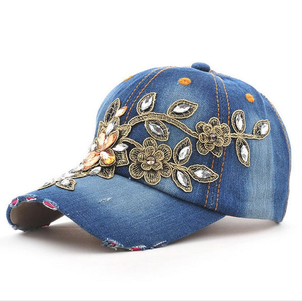 Fashion Full Crystal Floral Sport Outdoor Denim Baseball Cap Bling Rhinestone hip hop Adjustable Snapback Hat for women - On Trends Avenue
