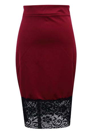 Sexy Women Formal Stretch High Waist Short Lace Mini Skirt Pencil Skirt  Red  Black Skirt - On Trends Avenue