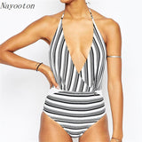 new Sexy Deep V women plus size swimwear Brazilian style personality one piece swimsuit Black white stripes bathing suit - On Trends Avenue