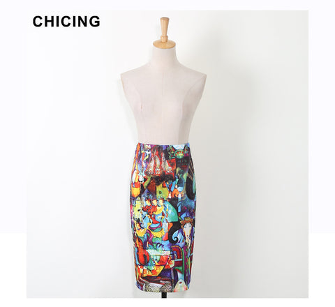 CHICING Women Pencil Skirts Abstract Art Oil Painting Graffiti Print High Waist Tube Wrap Bodycon Midi Jupe Faldas A1603036 - On Trends Avenue