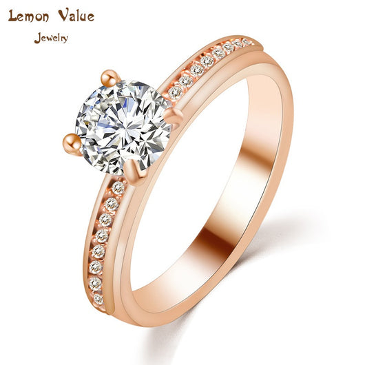 Lemon Value Fashion Luxury 18K Gold Plated Female Ring Big Water Drop Crystal Zircon Wedding Ring Women Jewelry Bijouterie P038 - On Trends Avenue