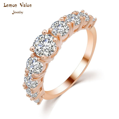 Lemon Value New Luxury 18K Gold Plated Female Wedding Ring Romantic Crystal Zircon Engagement Ring Women Jewelry Gift P035 - On Trends Avenue