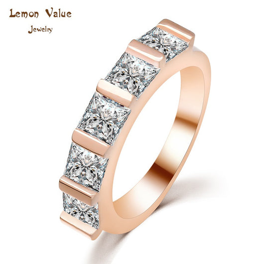 Lemon Value Classic Luxury Austria Crystal Rings 18K Gold Plated Ring Romantic Wedding Zircon Crystal Rings Women Jewelry P034 - On Trends Avenue